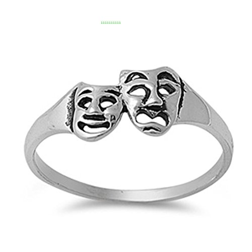 Janestore Fashion silver-tone Comedy & Tragedy Masks Ring Smile Now Cry Later Band Sizes 4-9 (Handmade Lion Mask)