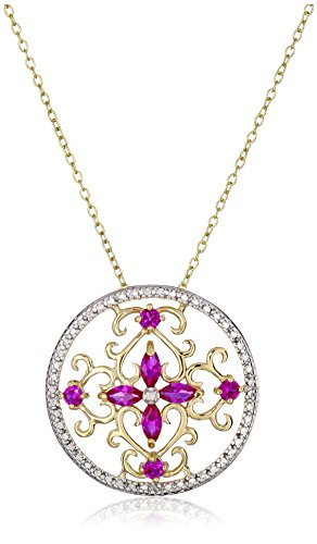 18k-Yellow-Gold-Plated-Sterling-Silver-Two-Tone-Created-Ruby-Flower-Pendant-Necklace-18