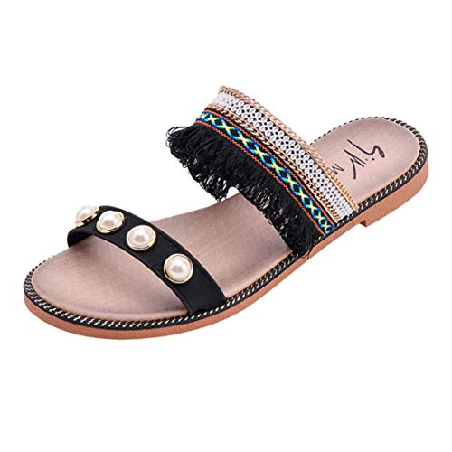 Crystals Wrap Toe Ring - FORUU Women Solid Crystal National Style Tassels Sandals Slipper Beach Shoes Black