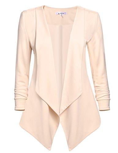 ACEVOG Women's Long Sleeve Open Front Asymmetrical Hem Casual Blazer Jacket (X-Large, Apricot)