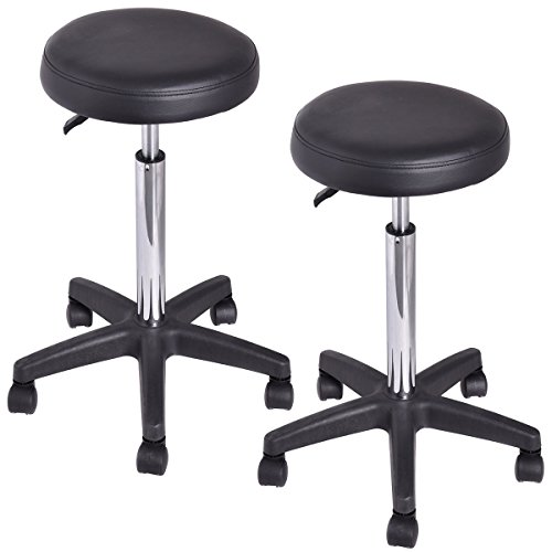 Good concept Set of 2 Tattoo Salon Stool Rolling Swivel Massage Height Adjust Facial Manicure Spa Adjustable Black Office Desk Hydraulic Chair by Good concept (Image #7)