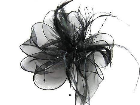 Achat/Vente bien connu sur les images de pieds de Corsage avec plumes de perles fleuries noires, ornement de pinces à cheveux  pour femmes, ascot courses, mariage