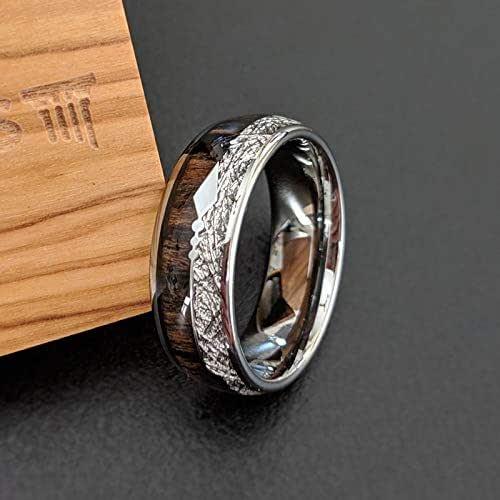 Amazon.com: Meteorite Rings for Men Koa Wood Ring with Arrow Inlay