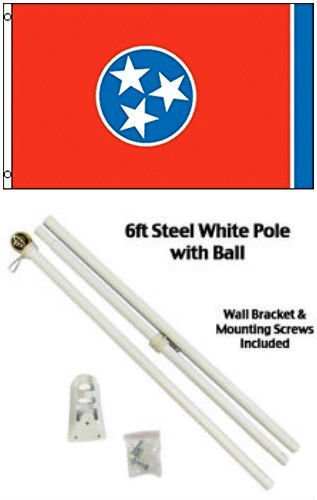 2x3 2x3 State of Tennessee Flag White Pole Kit Gold Ball Top BEST Garden Outdor Decor polyester material FLAG PREMIUM Vivid Color and UV Fade Resistant