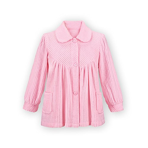 Women's Soft Fleece Button Down Night Shirt with Pockets - Comfy Flattering Fit Over Pajamas or Nightgown, Pink, X-Large