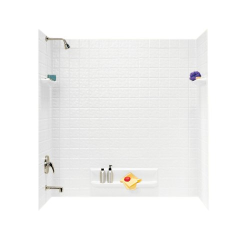 Swanstone TI50000.010 Veritek Glue-Up 5-Panel Bathtub Wall Kit, 32-in L X 60-in H X 59.625-in H, White (Best Adhesive For Tub Surround)