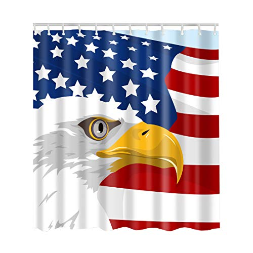 Artown American Flag Shower Curtain, Vintage Patriotic Bald Eagle Fourth of July Independence Memorial Day Themed Image Print - Machine Washable - USA Decor Set with 12 Plastic Rings, 72 x 72 Inches