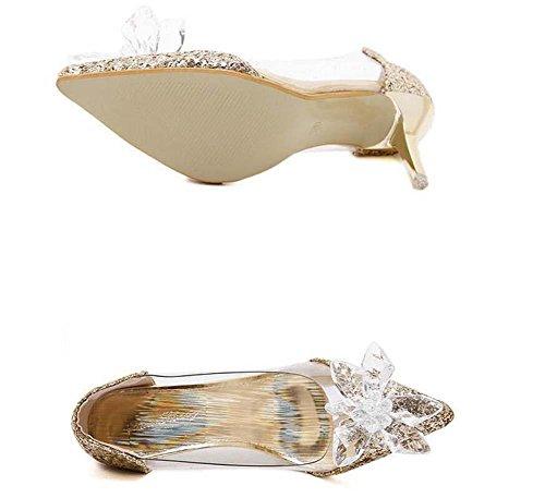 sera del di Trasparente da Punta Incantevole da Sandali Cinderella Stiletto Pompa diamante Scarpe sposa Scarpe punta di Heel cristallo Gold donna Fiore gattino Onfly Scarpe Da di t7Bqxw