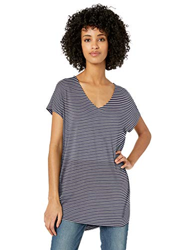 (Daily Ritual Women's Jersey Dolman-Sleeve V-Neck Tunic, Navy/White Stripe, XX-Large)