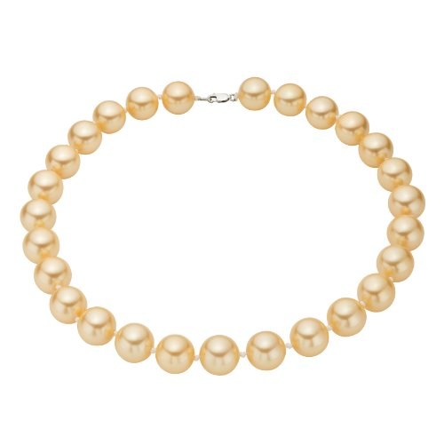 Sterling Silver Golden Shell Pearl Strand Necklace - South Sea Look