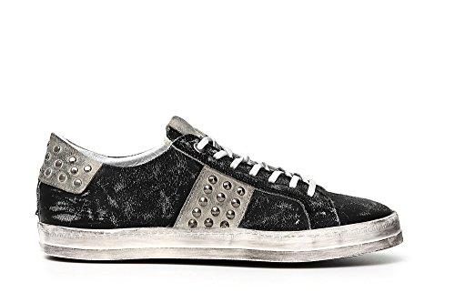 CafèNoir PC132 Nero Scarpe Uomo Sneakers Pelle Lacci Borchie 010 Nero