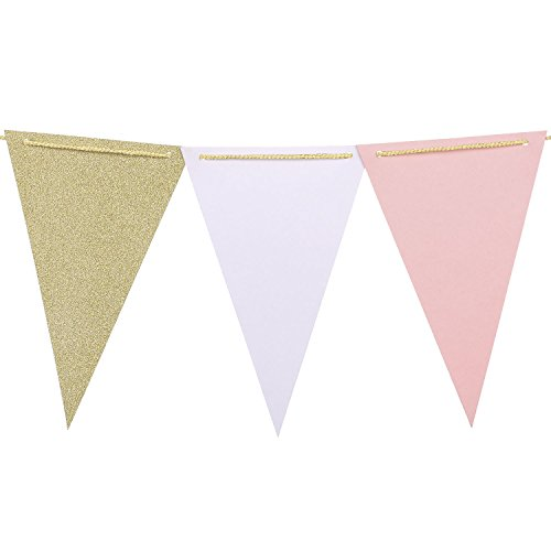 Ling's moment 10 Feet Paper Banner Flags Triangle Flags Banner Vintage Style Pennant Banner for Wedding, Baby Shower, Event & Party Supplies, 15pcs Flags Christmas Drinks White Background