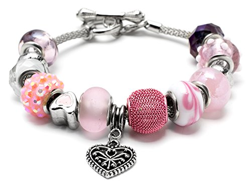 Toggle Large Heart (Cousin Heart Charm Large Hole Bead Bracelet Kit - 14 pieces)