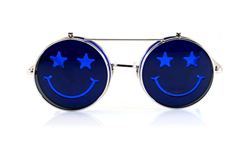 FBL Smile Flip-Up Clamshell Deep Color Round Sunglasses A114 - John Elton Glasses Blue