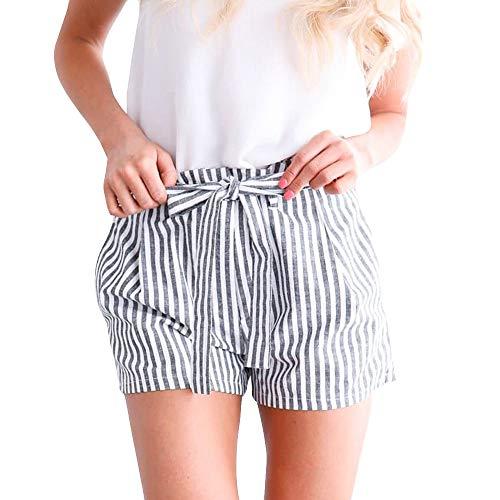 (Women's Shorts Elastic Waist Stripe Hot Shorts Pockets Teen Girls Casual Paper Bag Shorts Wide Leg Sport Short Pants Grey)