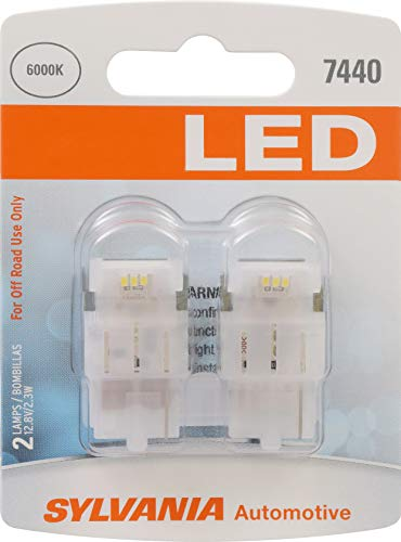 SYLVANIA - 7440 T20 LED White Mini Bulb - Bright LED Bulb, Ideal for Daytime Running Lights (DRL) and Back-Up/Reverse Lights (Contains 2 Bulbs)