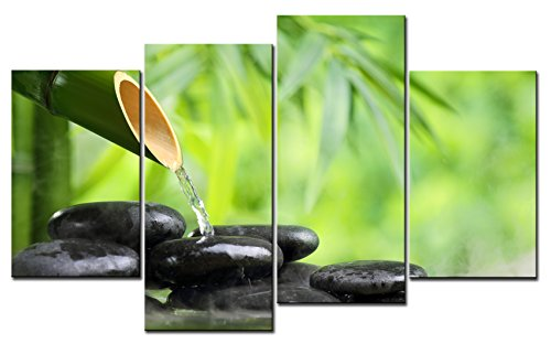 SmartWallArt - Spa Paintings Wall Art Green Spa Still Life with Bamboo Fountain and Zen Stone in Water 4 Pieces Picture Print on Canvas for Modern Home (Abstract Modern Fountain)