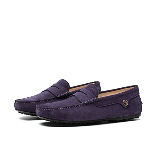 OPP Men's Classic Fashion Leather Driving Casual Loafers Boat Shoes By French Designer,Purple,8 D(M) US Purple Designer Shoes