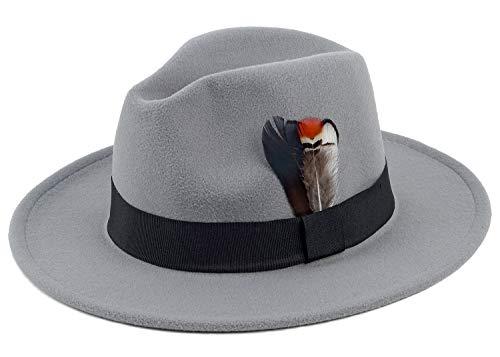 (Unisex Gatsby Homburg Derby Gangster Fedora Manhattan Felt Winter Hat with Feather Grey)