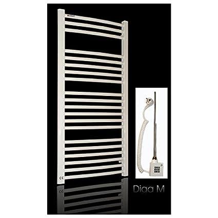 Eléctrico baño Radiador, diseño curvado, color blanco, incluye varilla de calefacción, cartucho
