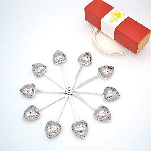 Tea Filter Long Grip Stainless Steel Mesh Heart Shaped Tea Strainer Spoon, Set of 10 Tea Infuser Spoon by WYOK