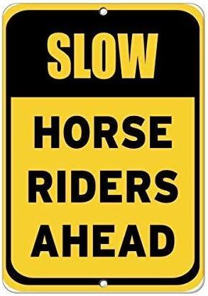 HORSEBACK RIDING YELLOW ALUMINUM SIGN