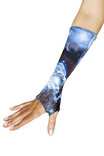 [J. Valentine Women's Galaxy Fingerless Gloves, Blue, One Size] (Sci Fi Halloween)