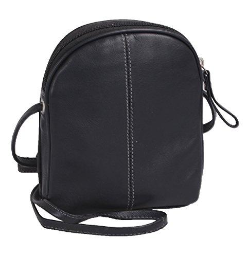 Bolso de mano de mujer AVANCO de cuero, negro 18,5x15x4,5cm