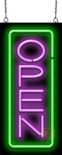 Vertical Neon Open Sign - Purple & Green
