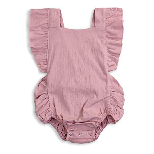 (KCSLLCA Baby Girls Romper Solid Color Ruffle Sleeveless Backless Onesies (Pink, 0-6 Months))