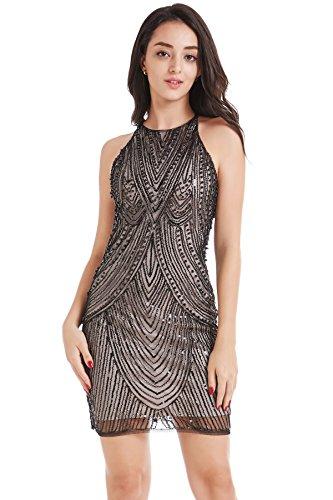 dycon Club Dress Backless Spaghetti Cocktail Dress Lace up Bandage Bodycon Mini Dress (Beige, S) ()