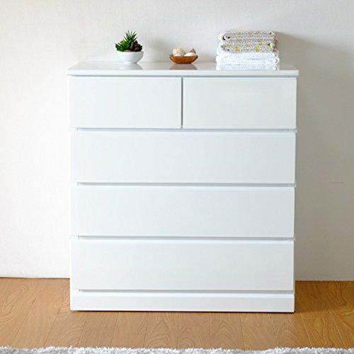 ISSEIKI チェスト 白 幅75 奥行45 水汚れに強い光沢塗装仕上 木製家具 SOFEE CHEST 75-45 (WH) B00VV3F73A
