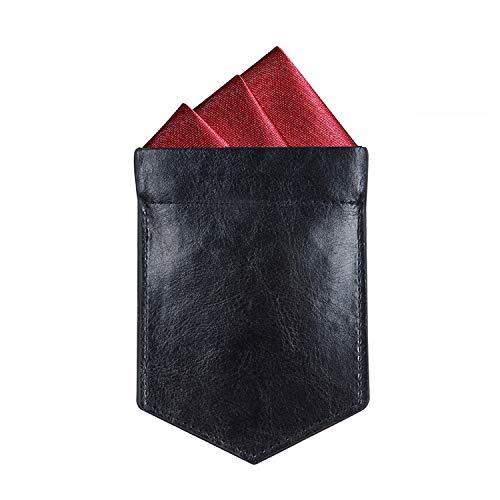ONLVAN Pocket Square Holder Leather Slim Pocket Square Holder for Men