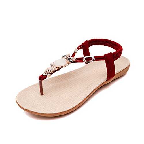 Angelliu Kvinners Luksus Ugle Krystall Flats Sandaler T-stropp Sko Røde