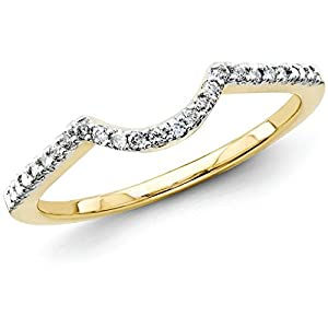 0.15 Carat (ctw) 14k Yellow Gold Round Diamond Ladies Anniversary Wedding Stackable Band Contour Guard Ring 1/6 CT - Size 4.5