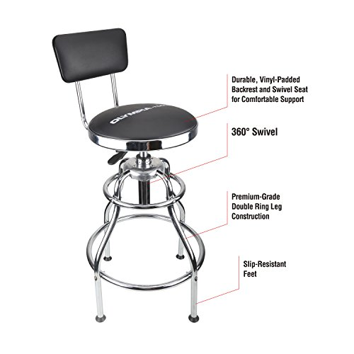- Olympia Tools 82-738 Metallic-Fiber Adjustable Hydraulic Stool with Easy to Clean seat Wipes and Padded Vinyl backrest,Slip-Resistant feet, Black
