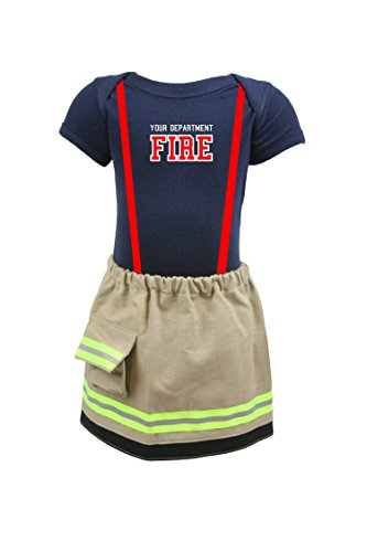 Fully Involved Stitching Personalized Firefighter Baby Girl TAN 2-Piece Outfit Skirt (6 Months)