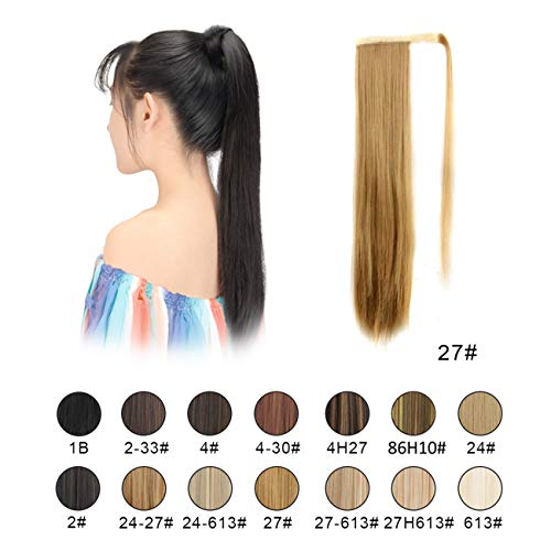 BARSDAR 26 inch Ponytail Extension Long Straight Wrap Around Clip in Synthetic Fiber Hair for Women (27# Strawberry Blonde)
