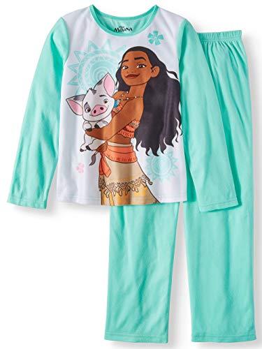 Piece 10 Pig (Girl's Moana and Pua The Pig Soft Flannel 2-Piece Pajama Set, (Large 10-12))