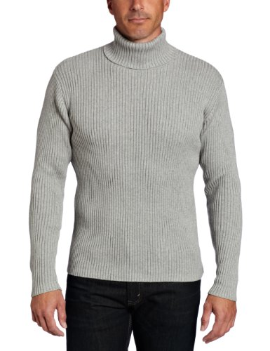 Alex Stevens Men's Ribbed Turtlneck Sweater, Light Heather Grey ...
