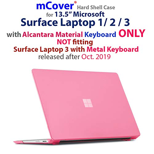 iPearl mCover Hard Shell Case for 13.5-inch Microsoft Surface Laptop (3/2 / 1) Computer (NOT Compatible with Surface Book and Tablet) (Pink)