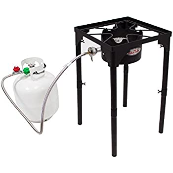 Gas One Portable Propane 100,000-BTU High-Pressure Single-Burner Outdoor Camp Stove & Steel Braided Regulator with Adjustable Legs and CSA Listed High Pressure Regulator and Hose Perfect for Brewing