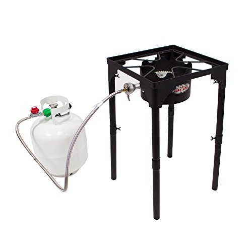 GasOne Portable Propane 100,000-BTU High Pressure Single Burner Camp Stove & Steel Braided Regulator with Adjustable Legs Perfect for Brewing, Boiling Sap & Maple Syrup Prep (Propane Portable Burner)