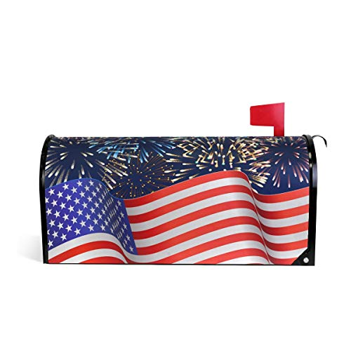 - Naanle Patriotic American Flag Magnetic Mailbox Cover, 4th of July Star and Stripe Mailbox Wrap Home Decorative for Standard Size 20.8