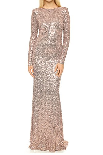 Honey Qiao Rose Gold Bridesmaid Dresses Long Sleeves Full Back Prom party Gown (Bridesmaid Long Sleeve)