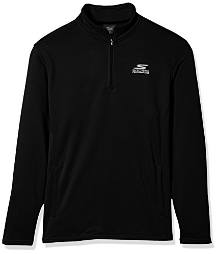 (Skechers Men's Go Walk Momentum 1/4 Zip Mock Neck Twill Back Fleece Jacket, Black, L)