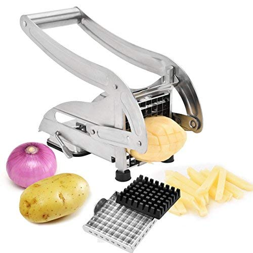 French Fry Cutter, Stainless Steel Potato Slicer Vegetable Chopper Dicer with 2 Interchangeable Blades and Non-Slip Suction Base for Potato