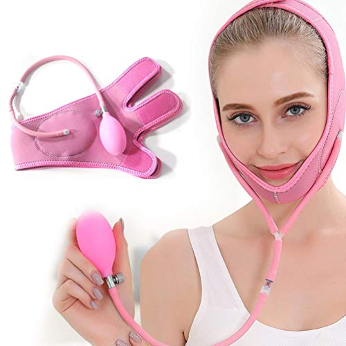 Facial Slimming Mask Slimming Bandages Inflatable Balloon Lift Up Anti-Wrinkle Mask Ultra-Thin V Face Line Belt Strap Band,Pink