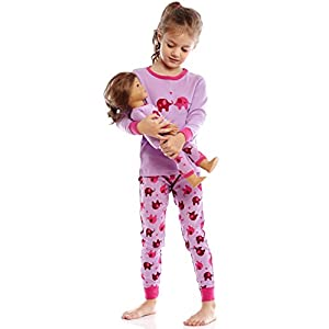 Leveret Kids & Toddler Pajamas Matching Doll & Girls Pajamas 100% Cotton Set (Toddler-14 Years) Fits American Girl