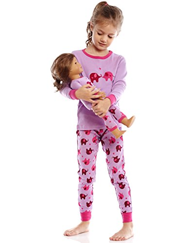 Leveret Matching Doll & Girl 2 Piece Pajama Set Top & Pants 100% Cotton (2 Toddler-10 Years)